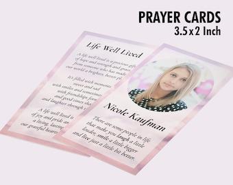Printable Funeral Prayer Card, Memorial ideas, funeral ideas, funeral printables, editable prayer cards, small prayer cards