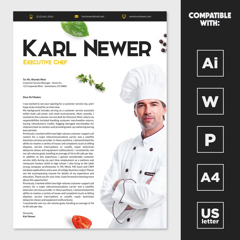 Executive Chef Resume Template Word PowerPoint Illustrator ...