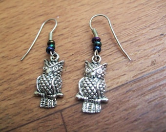 Cute owl earrings, Bird gift, jewellery, metal, Colour beads, beaded earrings by TwyningsDesigns