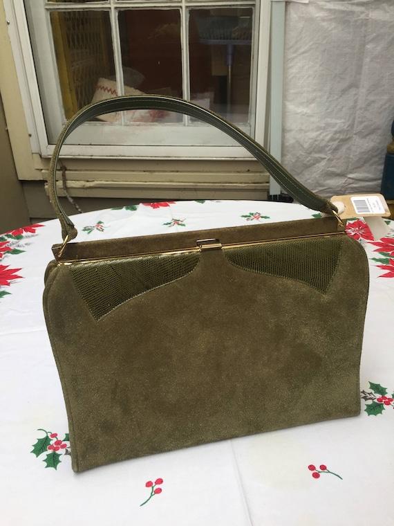 Vintage avacado green Suede Handbag