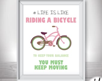 Bicycle wall art. Printable home decor. Bicycle quote print. DIGITAL DOWNLOAD wall decal. Nursery wall art. Printable poster.