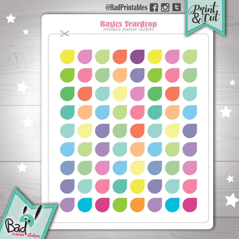 pastel teardrop stickers. printable planner stickers. teardrop | etsy