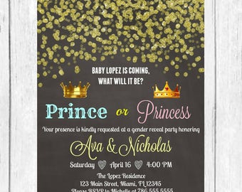 prince princess gold confetti gender reveal invitation confetti invitation baby boy or girl invitation gold glitter invitation printable