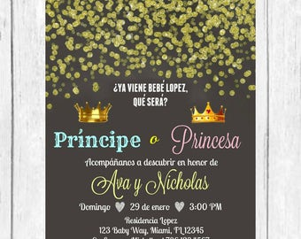 blue pink gold confetti gender reveal spanish invitation etsy