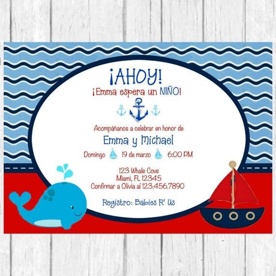 Ahoy its a boy whale baby shower spanish invitation etsy image 0 filmwisefo
