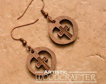 Wooden Cross Earrings (Walnut)