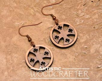 Wooden Cross Earrings (Cherry/Walnut)