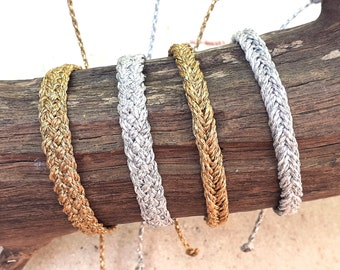 Waterproof Gold or Silver Braided Bracelet or Anklet, Adjustable Wax Cord Friendship Bracelet, Waterproof Wax Cord Boho Surfer Anklet