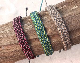 Waterproof Wax Cord Edged Flat Braided Bracelet, Waterproof Boho Surfer Anklet