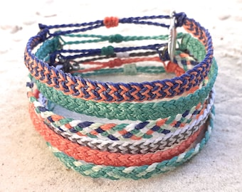 Waterproof Flat Braided Bracelet or Anklet, Adjustable Wax Cord Friendship Bracelet, Waterproof Wax Cord Boho Surfer Anklet