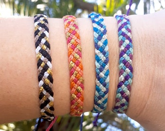 Silver or Gold Accent Flat Braided Bracelet or Anklet, Waterproof Wax Cord Friendship Bracelet, Waterproof Wax Cord Boho Surfer Anklet