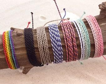Waterproof Twisted Bracelet or Anklet, Adjustable Wax Cord Rope Friendship Bracelet, Waterproof Wax Cord Boho Surfer Anklet