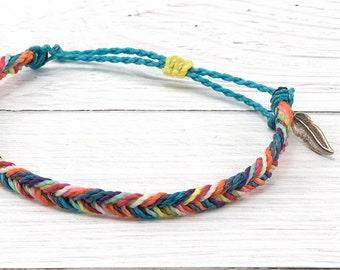 Fishtail Braid Friendship Bracelet, Rainbow Surfer Bracelet, Waterproof Wax Cord Bracelet, Stacking Boho Beach Bracelet, Adjustable Bracelet