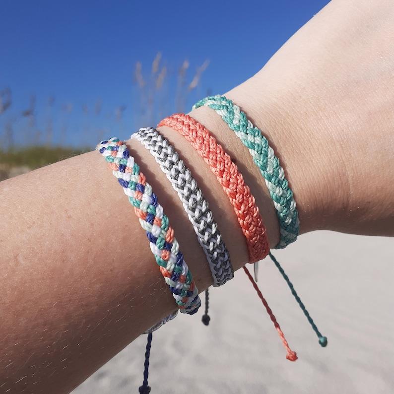 Waterproof Flat Braided Bracelet or Anklet Adjustable Wax image 1