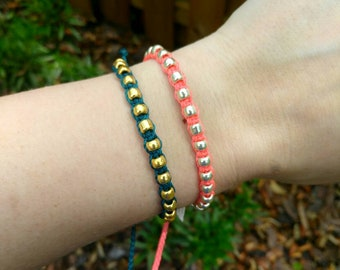 Studded Bracelet, Wax Cord Beaded Bracelet, Waterproof Bracelet, Adjustable Friendship, Boho Surfer Bracelet, Stackable Beach Bracelet