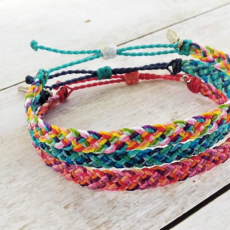 Waterproof Flat Braided Bracelet or Anklet Adjustable Wax image 0