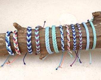 Waterproof Chunky Fishtail Braided Bracelet or Anklet, Adjustable Wax Cord Friendship Bracelet, Waterproof Wax Cord Boho Surfer Anklet