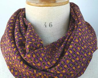 écharpe infinie femme, foulard violet motif, cadeau pour elle, tour de cou  tube, écharpe printemps été, écharpe tissu souple 1f1fc2df04b