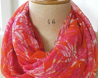 foulard infini femme, écharpe rouge blanc, foulard floral, snood tour de  cou, écharpe fleurs, foulard rouge blanc, foulard boucle rouge 7f299014019
