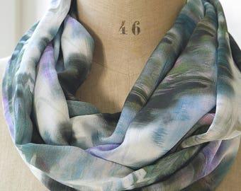aquarel infinity scarf, rayon fabric scarf, blue purple scarf, aquarel loop scarf, summer spring scarf, womens scarves, gift mother women