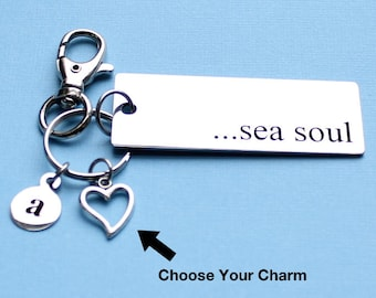 Personalized Beach Key Chain Sea Soul Stainless Steel Customized with Your Charm & Initial - K373