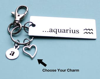 Personalized Astrology Key Chain Aquarius Stainless Steel Customized with Your Charm & Initial - K1021