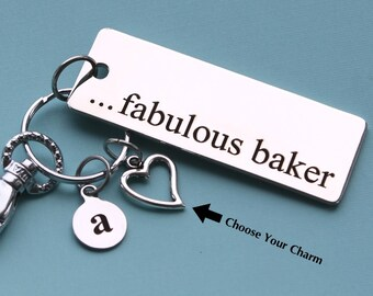 Personalized Baking Key Chain Stainless Steel Customized with Your Charm & Initial -K114