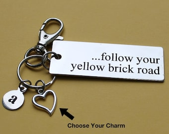 Personalized Inspirational Key Chain Follow Your Yellow Brick Road Stainless Steel Customized with Your Charm & Initial - K435
