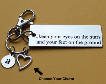 Personalized Inspirational Key Chain Keep Your Eyes On The Stars Stainless Steel Customized with Your Charm & Initial - K914