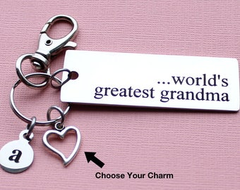 Personalized Grandma Key Chain World's Greatest Grandma Stainless Steel Customized with Your Charm & Initial - K869