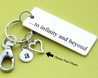Personalized Inspirational Key Chain To Infinity and Beyond Stainless Steel Customized with Your Charm & Initial -K531