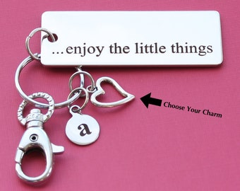 Personalized Inspirational Key Chain Enjoy the Little Things Stainless Steel Customized with Your Charm & Initial -K110