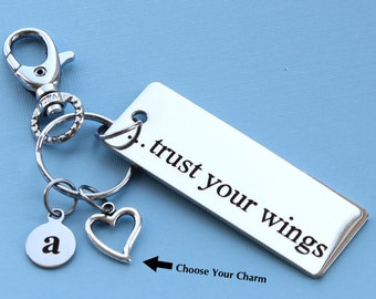 Personalized Inspirational Key Chain Trust Your Wings Stainless Steel Customized with Your Charm & Initial -K399
