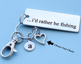 BFS230 Fishing Stainless Steel Charm I/'d rather be fishing  Quantity Options