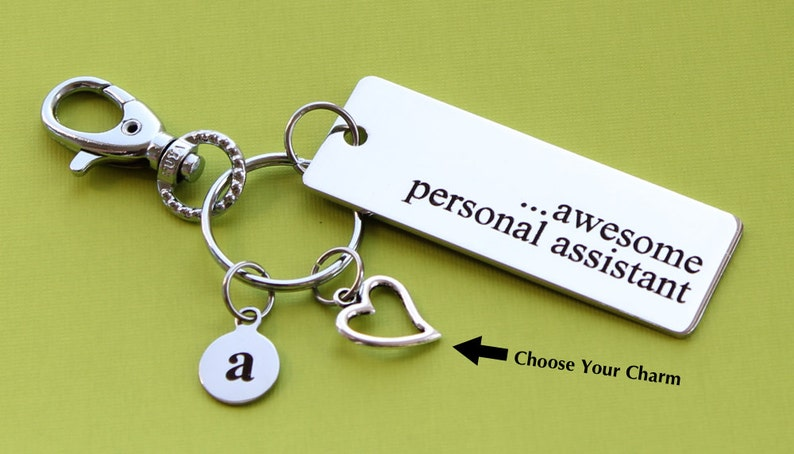 Personalized Assistant Key Chain Personal Assistant Stainless Steel  Customized with Your Charm & Initial -K458