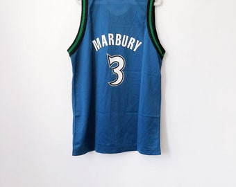 vintage stephon marbury minnesota timberwolves champion jersey youth size  large 16-18 deadstock NWT 90s 423362c23