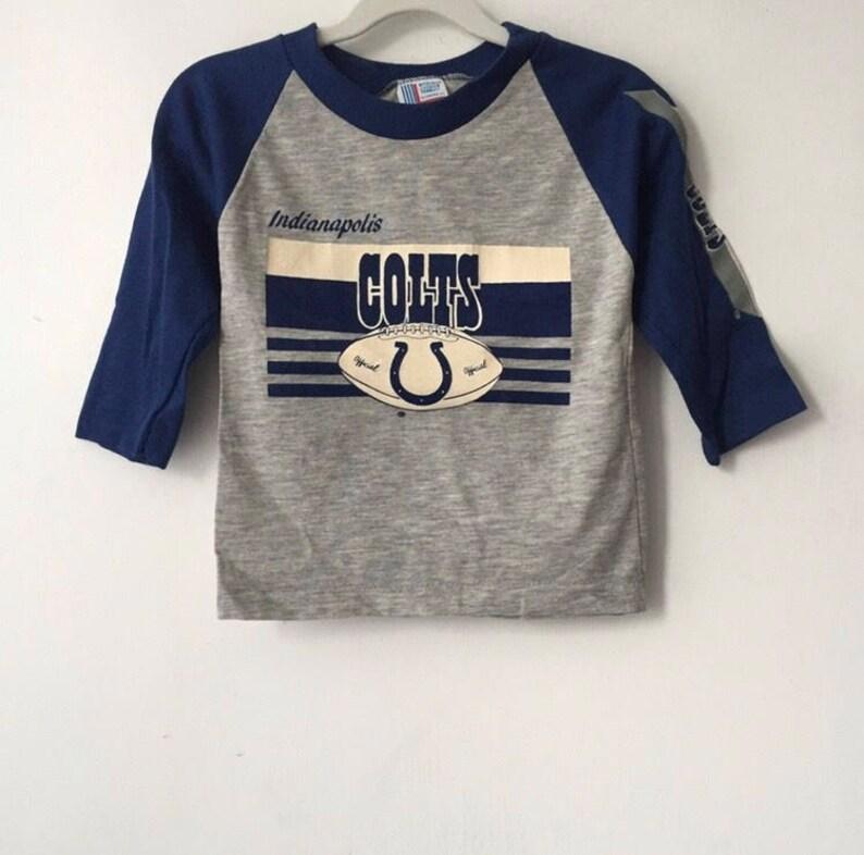 d703053ad95b3 vintage indianapolis colts raglan t-shirt boys size 6-8 medium 80s