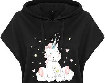 Kawaii Hoodie Hoodie Ladies Hoodie Black Unicorn Unicorn cutie