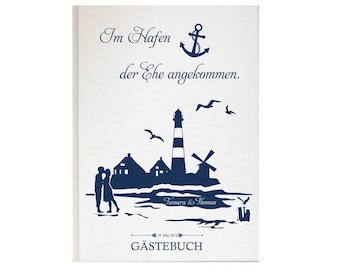 Personalized guest book for your wedding maritime lighthouse
