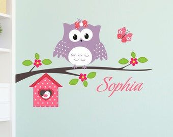 Wall decal Happy Owl with wish name personalized branch flowers birdhouse butterfly