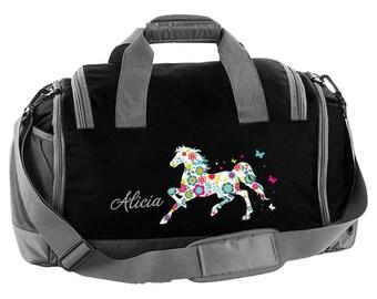 Sporttasche mit Namen und Blumenpferd | Etsy