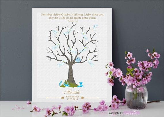Fingerprint Tree Guestbook Confirmation Blue