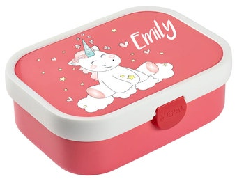 Bread Tin Mepal Campus with Bento Box and Fork and Unicorn Cutie