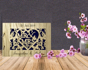 Personalised Guestbook for Wooden wedding with Mr & Mrs Butterfly Magic