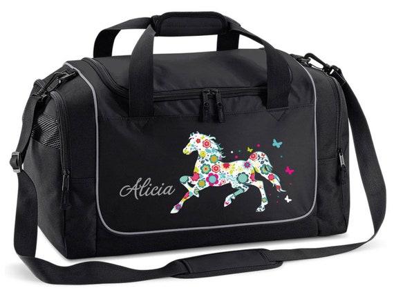 Sporttasche mit Namen und Blumenpferd
