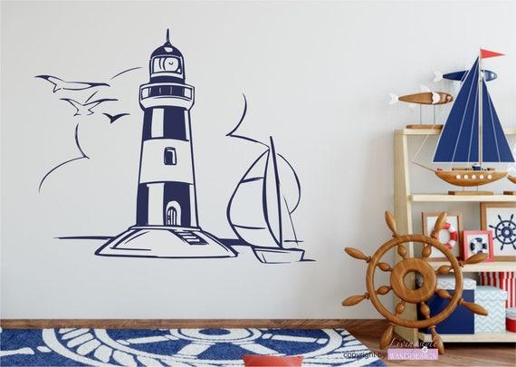 Wandtattoo maritim leuchtturm light house etsy - Wandtattoo maritim ...
