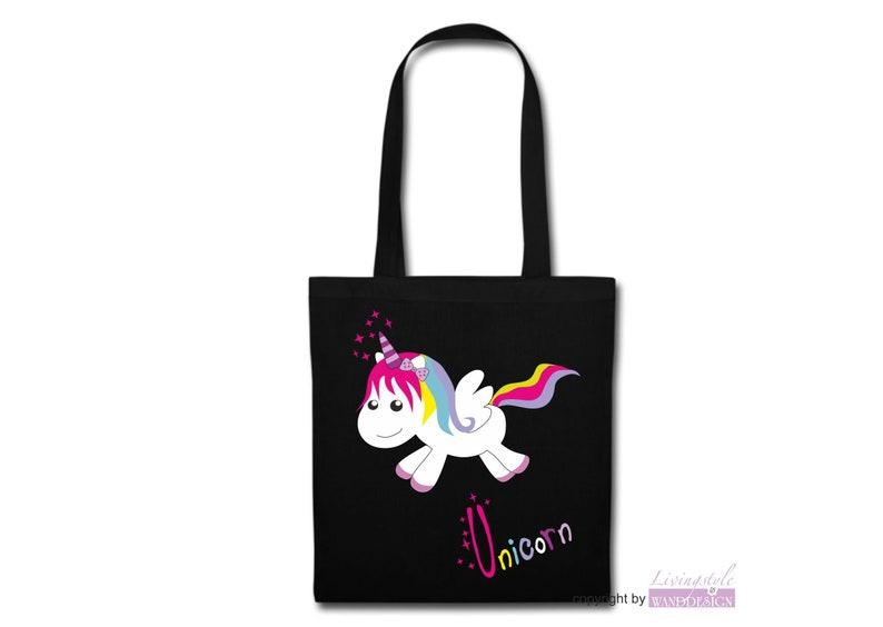 Fabric bag cotton long handle unicorn happy