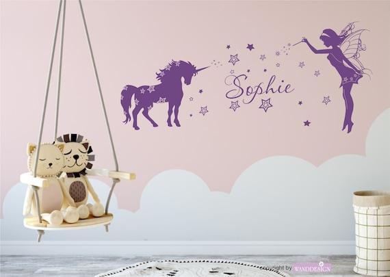 Wandtattoo Kinderzimmer Mit Namen Einhorn Mit Elfe