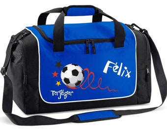 Sports bag in royal blue with name goalkicker