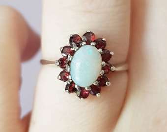Vintage Silver Opal Ring with a Garnet Halo